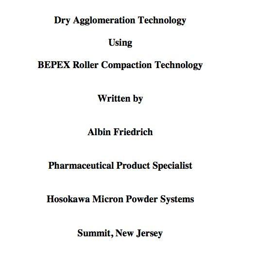Dry Agglomeration Technology Using Hosok